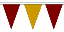 Maroon and Gold Traditional 20m 54 Flag Polyester Triangle Flag Bunting